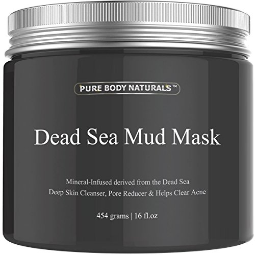 Pure Body Naturals Dead Sea Mud Mask for Face and Body, Face Mask for Acne, Blackheads, and Oily Skin (16 Ounce)