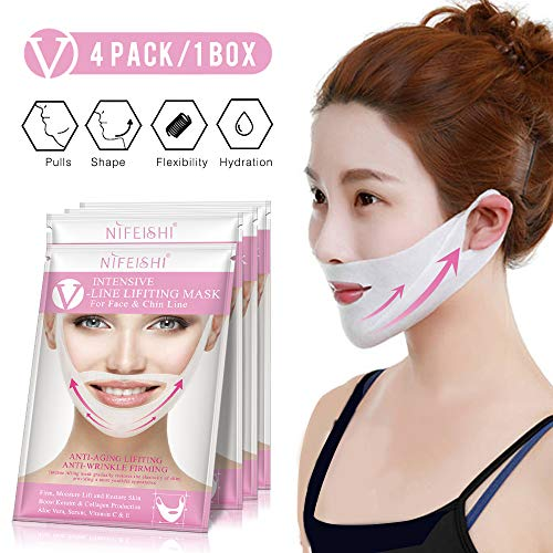 V Line Face Mask, (4pcs) Double Chin Reducer, V Shape Face Lifting & Chin Up Patch Intense Lifting Mask, Neck Mask Face Mask for Firming Moisturizing Face & Neck ()