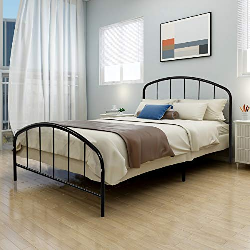 JURMERRY Metal Bed Frame Queen Bed Platform with Steel Headboard & Footboard Support Box Spring Black Queen Full Twin Mattress Foundation Double Beds (Queen, Black) ()