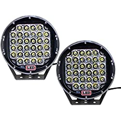 EconoLed 2pcs 9inch 96w LED Work Light Round for Offroad Truck Car ATV SUV Jeep Boat 4wd ATV Auxiliary Driving Lamp ( 2pcs 96w Spot Beam, Black) US Seller