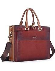 "CLUCI Women Oil Wax Leather Briefcases Slim Large Business 15.6"" Laptop Vintage Shoulder Bag for Men"