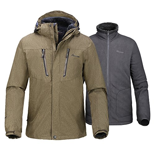 Jacket Hooded And Pants - OutdoorMaster Men's 3-in-1 Ski Jacket - Winter Jacket Set with Fleece Liner Jacket & Hooded Waterproof Shell - for Men (Desert,XL)