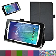 "ALCATEL ONETOUCH POP 7 LTE Case,Mama Mouth PU Leather Folio 2-folding Stand Cover for 7"" Alcatel Onetouch POP 7 LTE 2016 T-Mobile Model 9015W Tablet,Black"