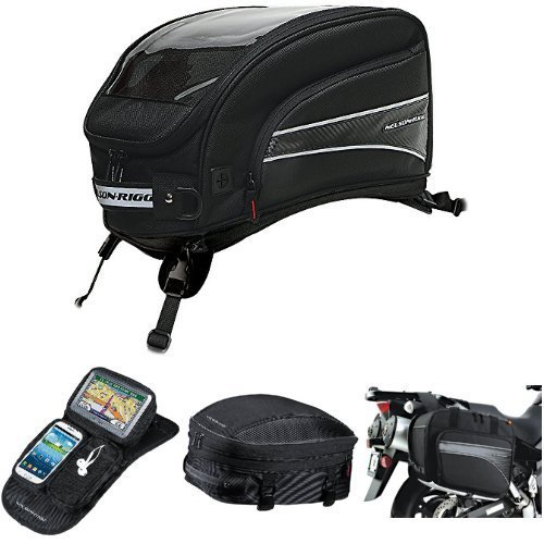 Nelson-Rigg CL-2016-ST Black X-Large Strap Mount Journey Tank Bag,  CL-GPS-MG Black Magnetic Mount Journey GPS Mate,  CL-1060-S Black Sport Tail/Seat Pack,  and  (CL-855) Black Touring Adventure Saddlebag Bundle