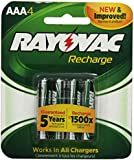 Rayovac Recharge Rechargeable 600 mAh NiMH AAA Pre-Charged Battery, 4-pack (LD724-4OP)