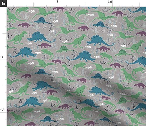 Colorful Dino Fabric - Dinosaurs 3 Blue Green Gray Baby Nursery Decor Lizards Reptiles Prehistoric Boy Print on Fabric by The Yard - Sport Lycra for Swimwear Performance Leggings Apparel Fashion