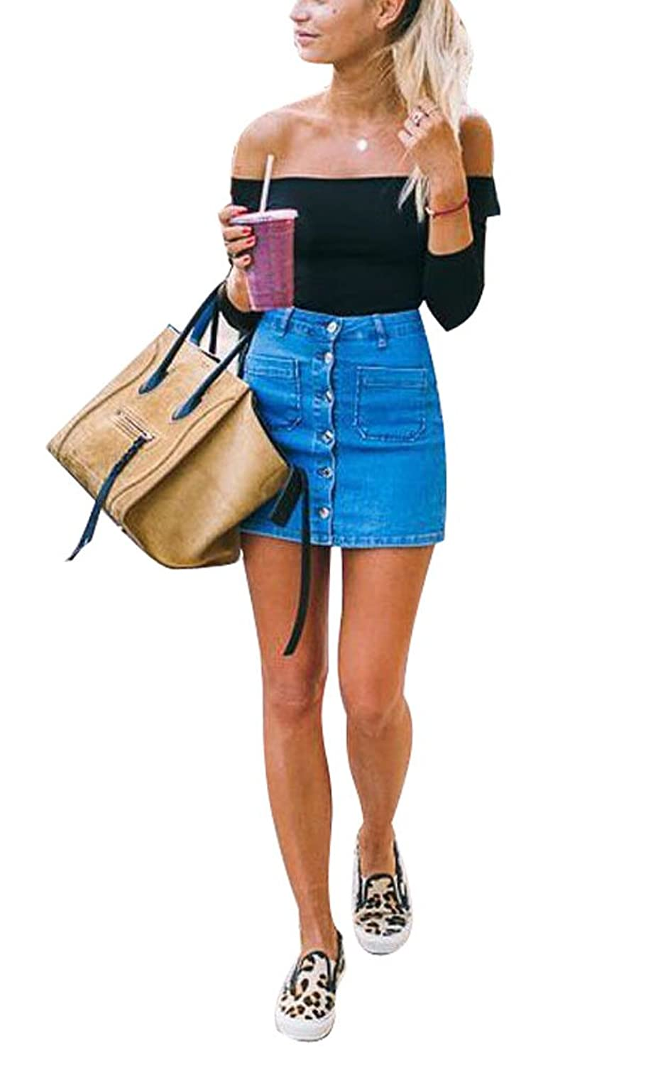 c7ac0a957d3 Top4  USGreatgorgeous Women s Juniors Cute Button Down Denim Mini Skirt  Short Pencil Jean Skirt