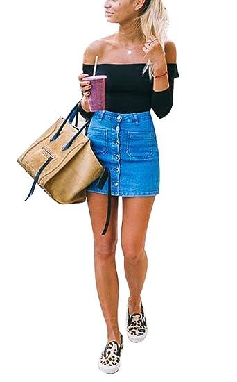 e961fa17c2bf USGreatgorgeous Women's Juniors Cute Button Down Denim Mini Skirt Short  Pencil Jean Skirt (S=
