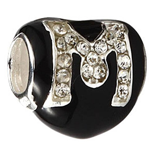 Choruslove Black Enamel Heart Letter M Crystal Charm for European 3mm Bracelet Mother Gift Heart Black Letters Charm
