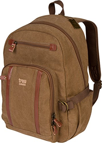 Troop London Canvas Backpack Leather Trims with Many Pockets Size Medium TRP0256 Brown
