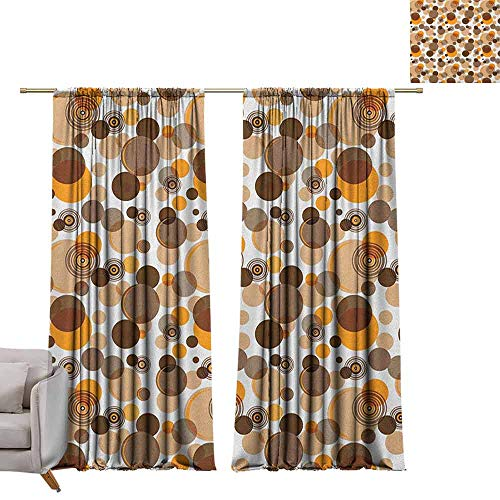 Blackout Curtains Earth Tones,Abstract Pastel Pattern with Overlapping Chaotic Spots and Ring Shapes, Orange Brown Tan W84 x L84 Blackout Drapes for Bedroom