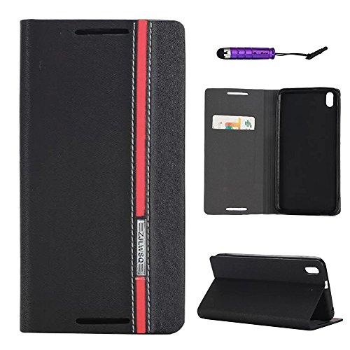 Scheam HTC Desire 816 Wallet case, HTC Desire 816 Flip case, Classy Slim Leather Wallet, ID Credit Card Slot Holder for HTC Desire 816 - Black