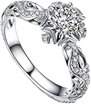 Unique Creative Diamond Women Rings Jewelry Gifts - 2 in1 Detachable Crown Ladies Ring, Zirconia Plated Amethy