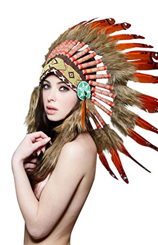 KII Native American Headdress (Unisex Adult; One Size) (Amber/Brown SH020) by KII