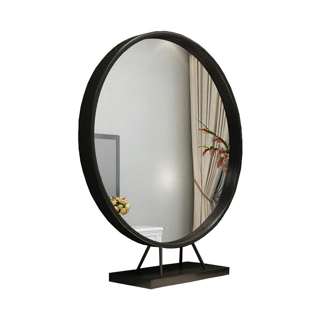 アイアン片面ラウンドヨーロピアンメークアップミラーデスクトップベッドルームデスクトッププリンセスドレッシングビューティーミラー (色 : 黒, サイズ さいず : 60 cm 60 cm) B07L92HSKY 黒 50cm 50cm|黒