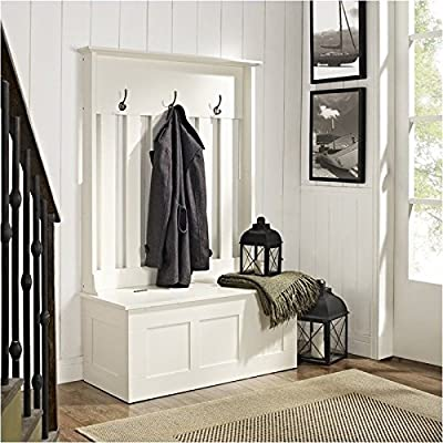 Pemberly Row Entryway Hall Tree in White - Solid Hardwood and Veneer Construction Full Lift Top Bench with Storage Underneath Variety of Colors to Match any Décor - hall-trees, entryway-furniture-decor, entryway-laundry-room - 51iSBzrSJrL. SS400  -