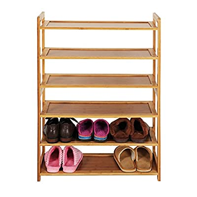 6 Tier Natural Wood Bamboo Shelf Entryway Storage Shoe Rack