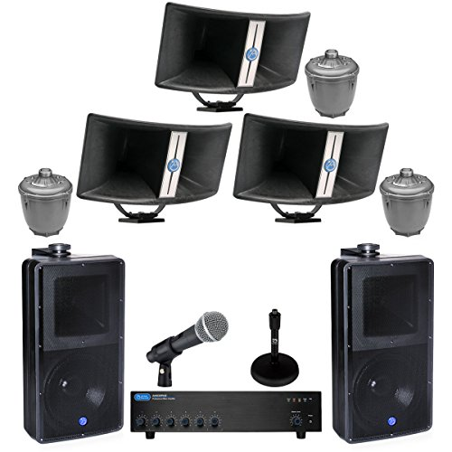 Biaxial Horn (Atlas Sound BIA-100 Bi-Axial Horns Bundle with Atlas Sound PD60AT Compression Drivers, Atlas Sound SM82T-B Loudspeakers, Atlas Sound AA400PHD Mixer Amplifier and Accessories - Stadium Sound System (13 Items))