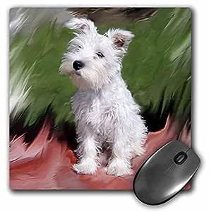 3dRose LLC 8 x 8 x 0.25 Inches White Schnauzer Mouse Pad (mp_4826_1)