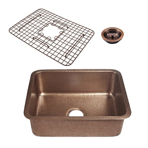 - Sinkology SK201-23AC-WG-B Renoir with Fuller Grid and Basket Strainer Undermount Kitchen Sink, 23 in x 17.25 in x 8 in in, Antique Copper