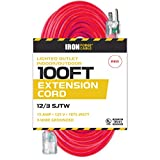 100 Ft Lighted Extension Cord - 12/3 SJTW Heavy Duty Red Outdoor Extension Cable with 3 Prong Grounded Plug for Safety - Great for Garden & Major Appliances