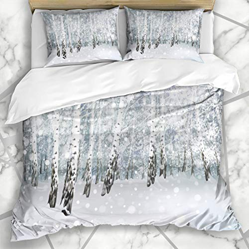 Ahawoso Duvet Cover Sets Queen/Full 90x90 Light Silver Snow Winter Snowy Birch Forest Merry Tree Blue Holiday Christmas Wonderland Snowstorm Microfiber Bedding with 2 Pillow Shams (Duvet Tree Birch)