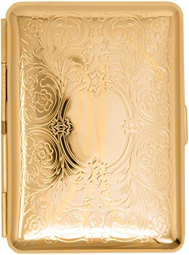Gold Victorian Scroll (14 Kings) Metal-Plated Elastic Bands Cigarette Case & Stash Box (Gold Metal Cigarette Case)