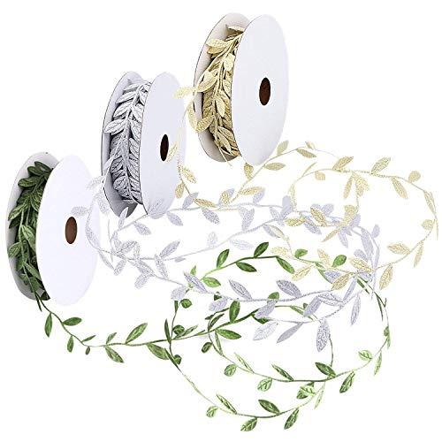 (Artificial Plants - Leaf Ribbons Green Gold Ribbonx Silver Ribbon Trim Spool 3 Pack - Long Pots Orchid Boxwood Resistant Blossom Lighted Duster Cherry Outside Basket Artificial Like Vase B)