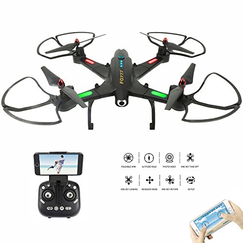 Quadcopter Drone with FPV Camera Live Video - Headless Mode & One Key Return & Altitude Hold - 3D Flips & Rolls - WiFi App & Remote Control - 2.4G 4CH 6 Axis Foldable RTF Helicopter, Black