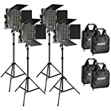 Neewer 4 Pieces Bi-color 660 LED Video Light and Stand Kit Includes: 3200-5600K CRI 96+ Dimmable Light with U Bracket and Barndoor and 75 inches Light Stand for Studio Photography, Video Shooting