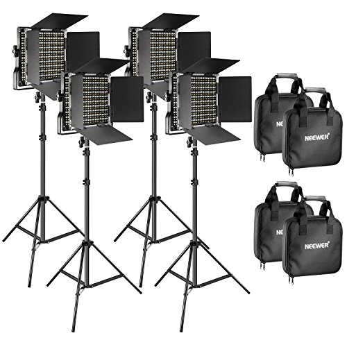 Neewer 4 Pieces Bi-color 660 LED Video Light and Stand Kit Includes: 3200-5600K CRI 96+ Dimmable Light with U Bracket and Barndoor and 75 inches Light Stand for Studio Photography, Video Shooting by Neewer