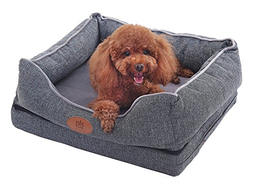 PLS Birdsong Fusion Orthopedic Dog Bed with Plush Bolster Sides, Extra Large, Firm Foam Dog Bed, Dog Beds for Large Dogs with Removable Cover