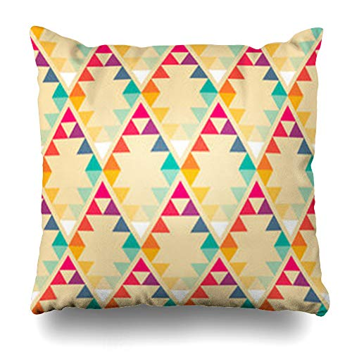 VanYES Throw Pillow Covers Creative Blue Tribal Abstract Geometric Rhombus Triangle Pattern Geometrical Angle Artistic Diamond Orange Home Decor Sofa Pillowcase Square Size 18 x 18 Inches Cushion Case