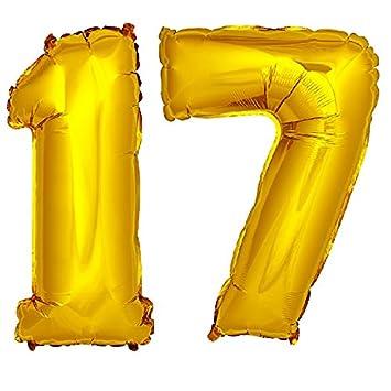DekoRex® 17 Globo en Oro 120cm de Alto decoración cumpleaños para Aire y Helio número: Amazon.es: Juguetes y juegos