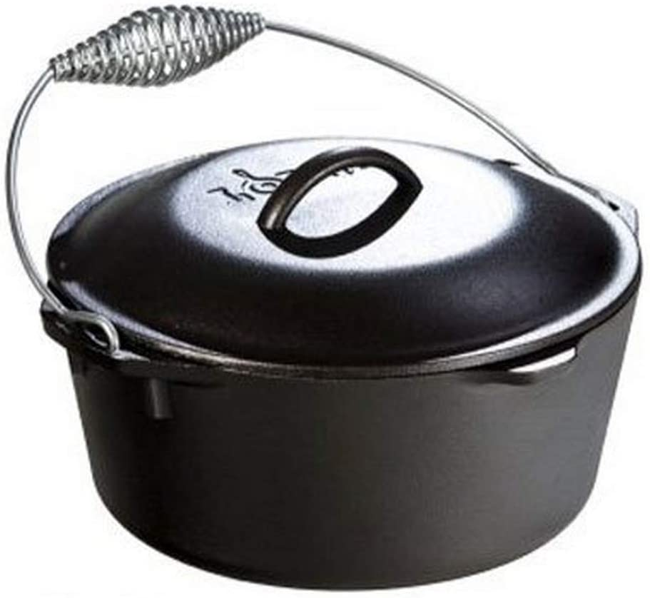 Cast Iron Dutch Oven With Lid Lifter Spiral Handle Casserole Dish Cookware 8L