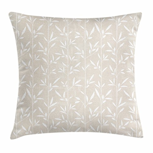 Cream Vertical Stripe - Lunarable Cream Throw Pillow Cushion Cover, Vertical Stripes Stems Leaves Pattern Grunge Display Classical Spring Inspired, Decorative Accent Pillow Case, 36 X 16 Inches, Pale Tan White