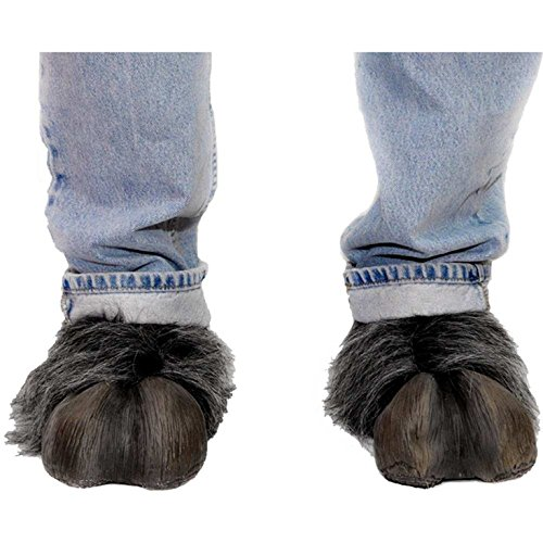 [Beast or Goat (Satyr) Hooves (Grey) Hoof-Hearted Feet Adult Halloween Costume Accessory] (Satyr Halloween Costumes)