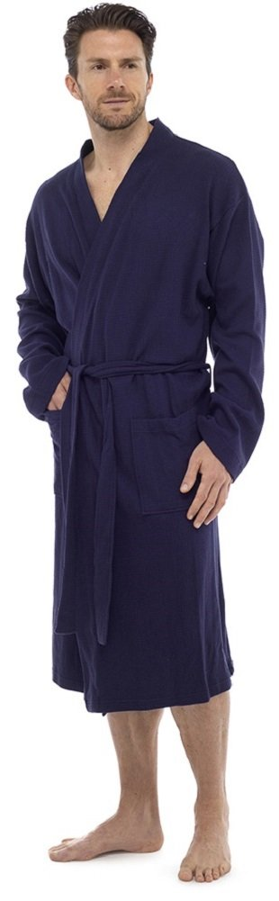 MICHAEL PAUL Mens Cotton Waffle Robe/Dressing Gown