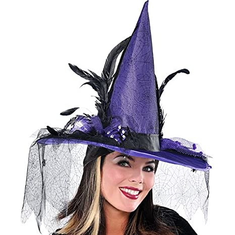 e3f3bcba1a2 AMSCAN Purple Witch Hat Deluxe Halloween Costume Accessories, One Size