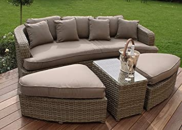 Milan Extra Large Rattan Daybed Lounger Sofa With Footstools Garden  Furniture Set Natural CushionsMilan Extra Large Rattan Daybed Lounger Sofa  With ...