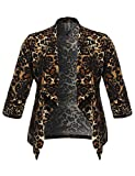 Plus Size Stretch Floral Printed 3/4 Shirring Sleeve Open Blazer Animal 1XL