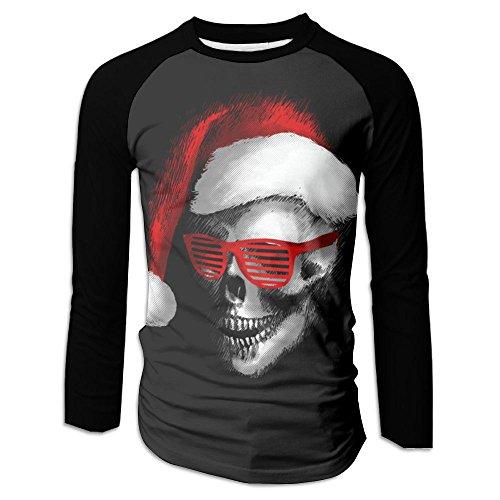 Menâ€s Santa Skull With Red Cool Sunglass Raglan Baseball T-Shirts 3/4 Sleeve Baseball Tees XXL