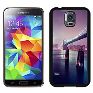 NEW Unique Custom Designed Samsung Galaxy S5 I9600 G900a G900v G900p G900t G900w Phone Case With Night Lights River Bridge_Black Phone Case