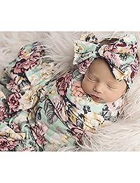 Newborn Receiving Blanket Headband Set Floral Printed Baby Swaddle Blanket Soft Sleeping Wrap Blankets 0-3M