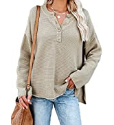 BLENCOT Women Button Neck Sweater Long Sleeve Chunky Oversized Fall Tunic Sweaters