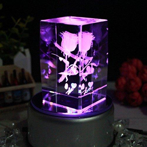 【祝開店!大放出セール開催中】 Cskbクリスタル3dローズフラワーカラフルなLEDライト回転ミュージカルボックス、刻印I Love You Love スタイル3 B01EYG6LNU、ピンク、オレンジ、青、紫などSevenライトグラデーションまたはValentines、ロマンチック記念ギフト MUSICBOX04 B01EYG6LNU スタイル3, ドリーム:516f06df --- arcego.dominiotemporario.com