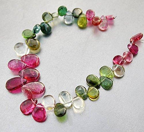 JP_BEADS Pink Green Blue Gem Watermelon Tourmaline Smooth Pear Briolette Drop Beads 4.5