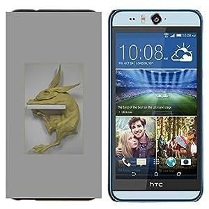TECHCASE---Cubierta de la caja de protección para la piel dura ** HTC Desire Eye ( M910x ) ** --Conejo Prueba Estatua de Arte Moderno Figura Animal
