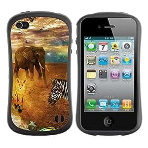 Hybrid Anti-Shock Bumper Case for Apple iPhone 4 4S / African Safari Animals