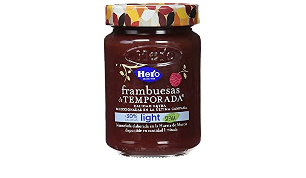 Hero Temporada Light Mermelada Frambuesa, Frasco de Cristal - 335 gr - [pack de 3]: Amazon.es: Alimentación y bebidas